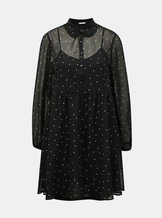 Černé puntíkované košilové šaty ONLY Tracy