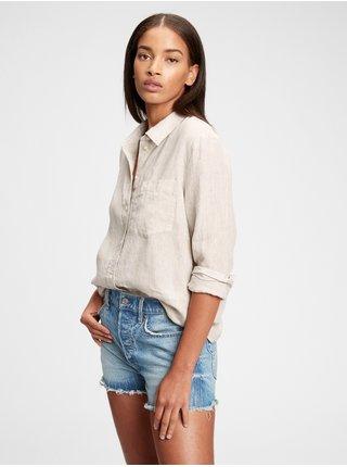 Béžová dámská košile GAP ls linen bf sh
