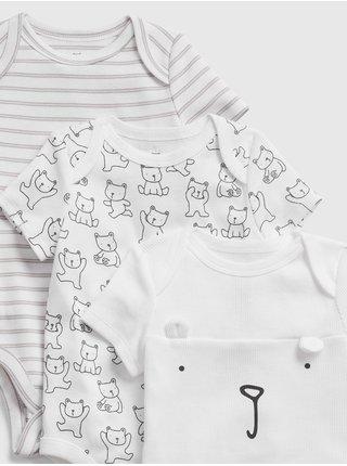 Baby body bear bodysuit, 3ks Biela