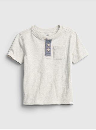 Šedé klučičí dětské tričko GAP ss henley