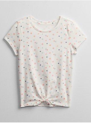 Bílé holčičí dětské tričko GAP v-tie hem tee