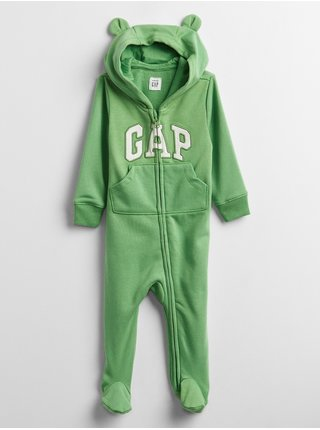 Baby overal GAP Logo hoodie one-piece Zelená