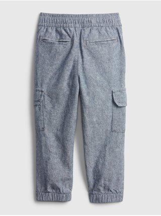 Modré klučičí dětské kalhoty GAP linen cargo jg