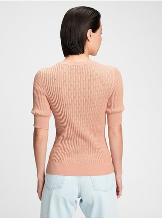 Sveter elbow sleeve pointelle sweater Ružová
