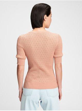 Růžový dámský svetr GAP pointelle s/s