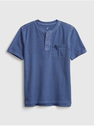 Detské tričko vintage henley t-shirt Modrá