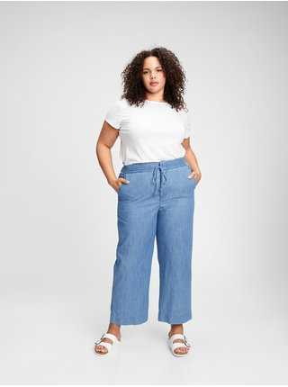 Nohavice high rise chambray wide-leg pants Modrá