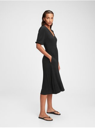Šaty three-quarter sleeve midi dress Čierna