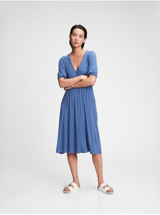 Šaty three-quarter sleeve midi dress Modrá
