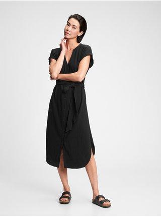 Černé dámské šaty GAP ss midi gauze