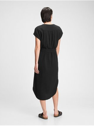 Šaty gauze midi shirtdress Čierna