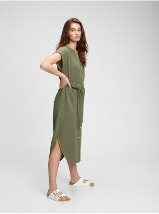 Zelené dámské šaty GAP ss midi gauze