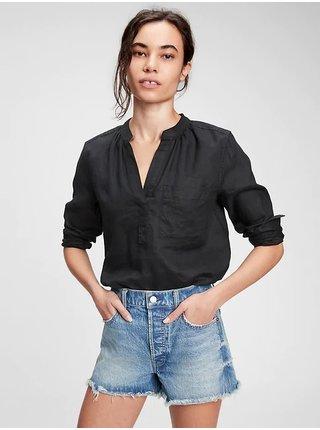 Košeľa linen popover shirt Čierna