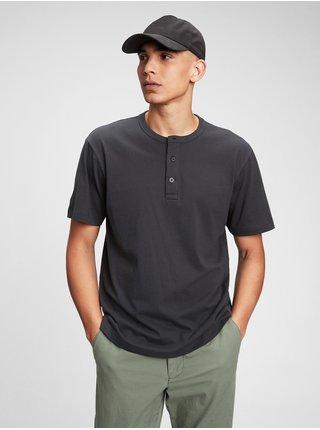 Černé pánské tričko GAP ss sft henley