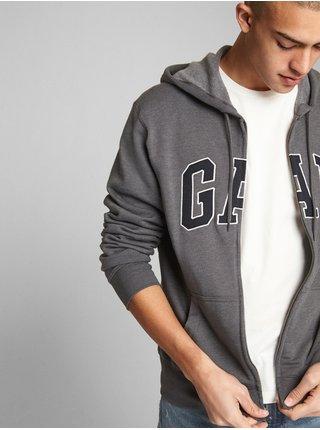Šedá pánská mikina GAP Logo fleece zip hoodie
