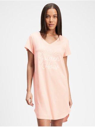 Růžová dámská noční košile GAP v-ff ss