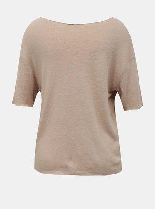 Béžové voľné ľanové tričko Hailys
