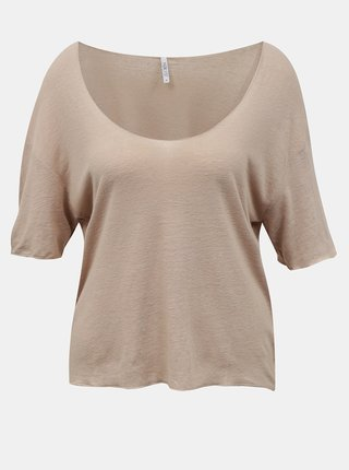 Béžové volné lněné tričko Hailys