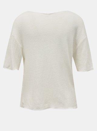 Krémové voľné ľanové tričko Hailys
