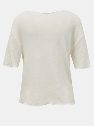 Krémové volné lněné tričko Hailys