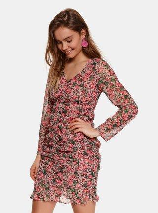 Růžové květované pouzdrové šaty TOP SECRET
