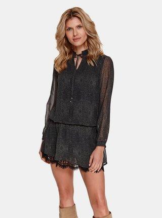 Čierne vzorované šaty s krajkou TOP SECRET
