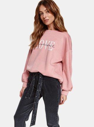 Růžová volná mikina s nápisem TOP SECRET