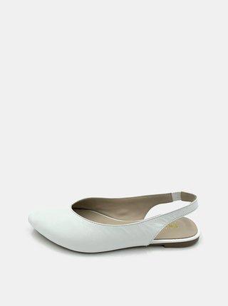Biele dámske kožené baleríny WILD
