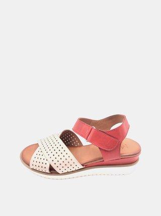 Bielo-červené dámske kožené sandálky na plnom podpätku WILD