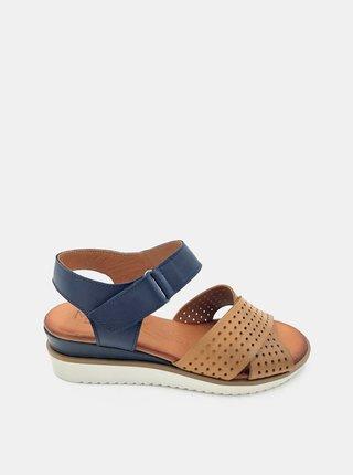 Hnedo-modré dámske kožené sandálky na plnom podpätku WILD