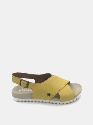 Žlté dámske kožené sandály WILD