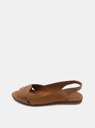 Hnědé dámské kožené sandálky WILD