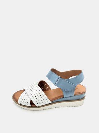 Bielo-modré dámske kožené sandálky na plnom podpätku WILD