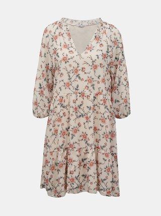 Růžové květované volné šaty Hailys