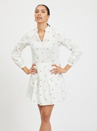 Bílé vzorované volné šaty VILA Ditsy