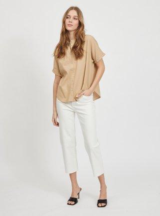 Béžová voľná ľanová košeľa VILA Siliana