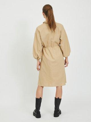 Béžové ľanové košeľové šaty VILA Siliana