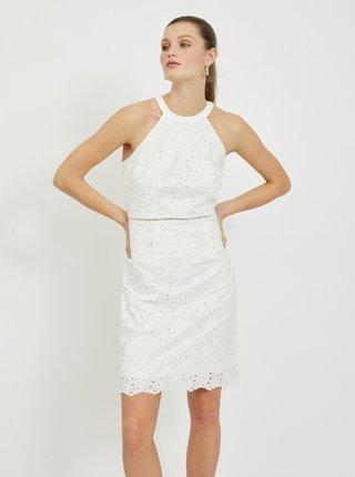 Biele krajkové púzdrové šaty VILA Emmie