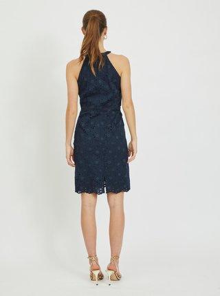Tmavě modré krajkové pouzdrové šaty VILA Emmie