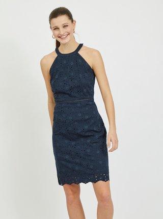 Tmavomodré krajkové púzdrové šaty VILA Emmie