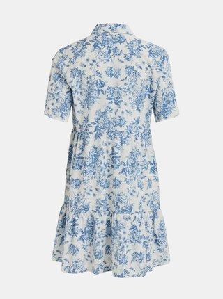 Bielo-modré kvetované košeľové šaty VILA Mora