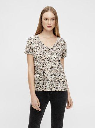 Béžové vzorované tričko .OBJECT Tessi