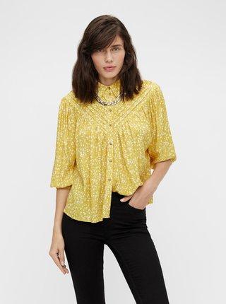 Žltá vzorovaná voľná košeľa .OBJECT Hessa
