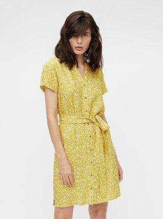Žlté vzorované šaty so zaväzovaním .OBJECT Hessa