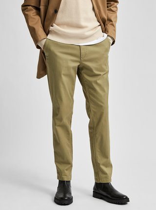 Kaki chino nohavice Selected Homme Miles