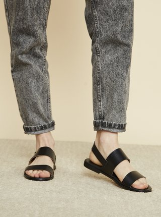 Čierne kožené sandále OJJU Beta