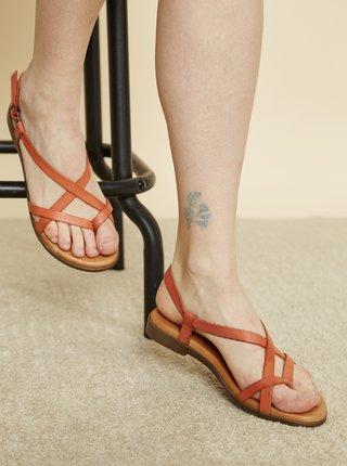Oranžové kožené sandále OJJU