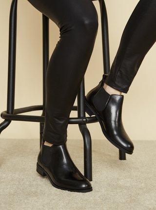 Čierne dámske kožené chelsea topánky OJJU