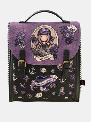 Hnedo-fialový vzorovaný batoh Santoro