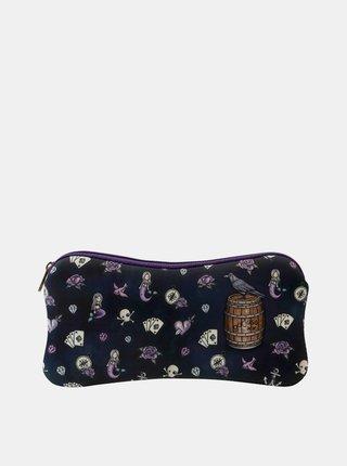 Fialovo-černá vzorovaná kosmetická taštička/pouzdro Santoro